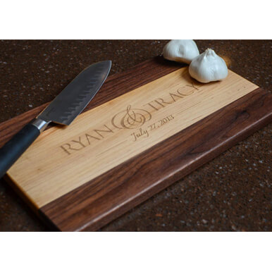 Personalized Cutting Board Engraved With Two Tones Of Maple & Walnut